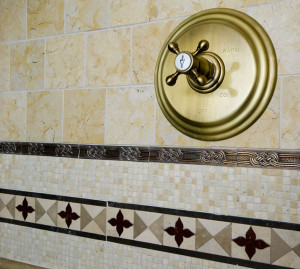 detail custom tile work bathroom wall hot cold control handles shower gym